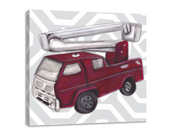 """Doodlefish - Vintage Fire Truck Toy - Becoming a fireman has been the dream of little boys for centuries.  This set of Doodlefish Artwork includes 18"""" x 18"""" Gallery Wrapped Giclee Prints featuring vintage toy trucks on sleek modern backgrounds.  This piece has a painting of an antique red fire engine toy on a grey and white honeycomb pattern.  The wall decor is   If you choose to have this piece personalized, we will place your child's name in the location that looks best based on the length of the name.  This artwork is also available mounted in a painted frame of your choice.    The finished size of the mounted piece is approximately 22""""x22""""."""