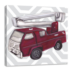 "Doodlefish - Vintage Fire Truck Toy - Becoming a fireman has been the dream of little boys for centuries.  This set of Doodlefish Artwork includes 18"" x 18"" Gallery Wrapped Giclee Prints featuring vintage toy trucks on sleek modern backgrounds.  This piece has a painting of an antique red fire engine toy on a grey and white honeycomb pattern.  The wall decor is   If you choose to have this piece personalized, we will place your child's name in the location that looks best based on the length of the name.  This artwork is also available mounted in a painted frame of your choice.    The finished size of the mounted piece is approximately 22""x22""."