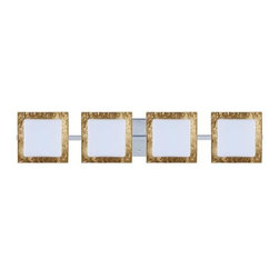 Besa Lighting - Series 7735 Opal/Gold Foil Chrome Four-Light ADA Bath Fixture - - Bulbs included: Yes  - Canopy/Fitter Height: 5.5-inches  - Canopy/Fitter Diameter/Width: 5.5-inches  - Height from center: 3.15  - : NOTICE: Due to the artistic nature of art glass, each piece is uniquely beautiful and may all differ slightly if ordering in multiples. Some glass decors may have a different appearance when illuminated. Many of our glasses are handmade and will have variances in their decors. Color, patterning, air bubbles and vibrancy of the d�cor may also appear differently when the fixture is lit and unlit. Besa Lighting - 4WS-7735GF-CR