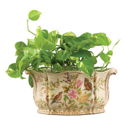 Oriental Danny - Porcelain Planter - Hand painted porcelain planter in oval shape. Elegant floral and bird pattern. Soft crackle color. Great for house plants.