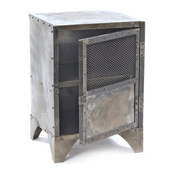 Vintage Steel Shoe Locker End Table - Put this piece on lock! A handsome footed end table and storage locker in one, its classic enough to suit any space but is ideal if you live in a smaller quarters, where multipurpose pieces are prized.