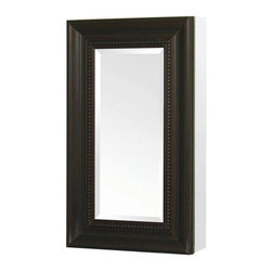 Pegasus - 15in.  x 26in.  Recessed or Surface Mount Mirrored Medicine Cabinet, Bronze - 15 in. x 26 in. Recessed or Surface Mount Mirrored Medicine Cabinet in Oil Rubbed Bronze
