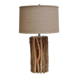 """Crestview - Natural Twigs Table Lamp - Wood Table Lamp in Wood Twig Finish (17.5x17.5x11.5"""" Burlap Shade)"""