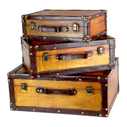 """Old Vintage Suitcases, Set of 3 - Size: Large 18"""" x 13"""" x 7"""". Medium: 15"""" x 10.5"""" x 5.5"""". Small: 13"""" x 8.5"""" 4.5"""""""