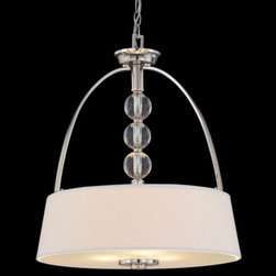 "Savoy House - Murren Drum Pendant by Savoy House - Combines the beauty of both traditional and contemporary styles. The Savoy House Murren Drum Pendant features a 20"" diameter hardback White fabric shade, clear globe decorative accents and arching supports in a polished nickel finish. This handsome pendant is an ideal choice for a variety of casual and mixed decors, adding a lovely transitional touch to living rooms, bedrooms, kitchens and more. Savoy House, headquartered in Braselton, Georgia, celebrates the uniqueness of today's decor styles by designing and manufacturing an extensive selection of high-quality ceiling fans and lighting fixtures for discerning homeowners."
