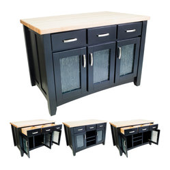 Lyn Design ISL07-BLK Black Kitchen Island