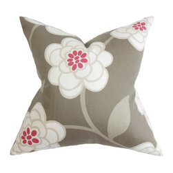 "The Pillow Collection - Junot Floral Pillow Gray 18"" x 18"" - Accent your living room or bedroom with this plush decor pillow. This throw pillow features a beautiful floral pattern in white and pink hues against a gray background. Lend a homey vibe to your interiors by pairing this square pillow with other nature-inspired decor pieces. Measures 18"" and fits most furniture pieces. Made with 100% soft and high-quality cotton fabric. Hidden zipper closure for easy cover removal.  Knife edge finish on all four sides.  Reversible pillow with the same fabric on the back side.  Spot cleaning suggested."