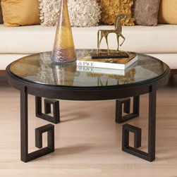 Greek Key Cocktail Table - Every room needs a touch of black, and this coffee table centerpiece is a stunning way to add it. The mirrored top and open pattern keep this black piece from feeling too solid and energy blocking.