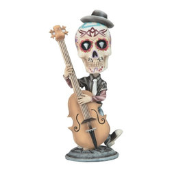 GSC - 7 Inch Day of the Dead Sugar Skull Playing the Bass Figurine - This gorgeous 7 Inch Day of the Dead Sugar Skull Playing the Bass Figurine has the finest details and highest quality you will find anywhere! 7 Inch Day of the Dead Sugar Skull Playing the Bass Figurine is truly remarkable.