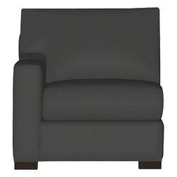 """Axis II Left Arm Sectional Chair - Our most popular seating solution updates in a slightly slimmer profile with more room to stretch out and more options to dress with your own mix of throw pillows. Its simple lines anchor any room—whether classic, modern or a more eclectic mix—and it's a tremendous value for the quality of construction. Snug-fitting slipcovers hug Axis's plush contours, tailor-made with a sleek floor-length skirt and crisp topstitching. It's a tremendous value for the quality of construction: benchmade frame is kiln-dried hardwood, and soft down-blend seat cushions have an indulgent wrap in downproof ticking to give it that extra """"ahh"""" factor when you sit down. Axis sofa group also available."""