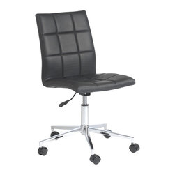 Euro Style - Cyd Office Chair - Soft leatherette over foam seat and back . Fully-welded, chromed steel base . Swivel, gas lift and casters. Seat height: 16.5 in. - 21 in.. Durable, easy to clean leatherette. Adjustable height. Color/Finish: Black/Chrome. 24.5 in. L x 24.5 in. W x 33 in. H