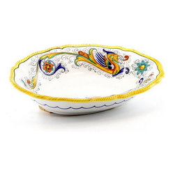 Artistica - Hand Made in Italy - RAFFAELLESCO: Oval scalloped Bowl - RAFFAELLESCO Collection: Among the most popular and enduring Italian majolica patterns, the classic Raffaellesco traces its origin to 16th century, and the graceful arabesques of Raphael's famous frescoes.
