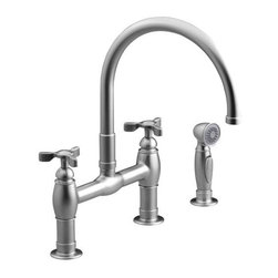 KOHLER - KOHLER K-6131-3-VS Parq Deck-Mount Kitchen Faucet with Spray - KOHLER K-6131-3-VS Parq Deck-Mount Kitchen Faucet with Spray in Stainless Steel