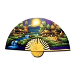 Oriental Unlimted - Purple Moon Wall Art Fan (60 in. W x 35 in. H - Choose Size: 60 in. W x 35 in. HA moon hangs low in the sky over a quaint Asian village as part of this hand painted wall fan, a colorful way to add an element of Asian inspiration to any decor. Available in your choice of sizes, the fan is finished in a vivid, saturated color palette that will be a dramatic addition to your space. 24 in. H x 40 in. W. 35 in. H x 60 in. WThe moon (which symbolizes yin in Oriental culture) is set low in the sky as it shines brightly over this enchanted village, casting a glorious light over the inhabitants. The purple sky and splendid shades of green are perfect for creating a state of relaxation and tranquility.