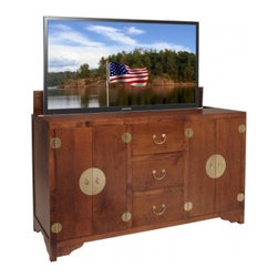 Asian Inspired TV Lift Cabinets - Dynasty Brown TV Lift Cabinet