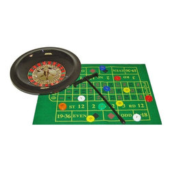 Trademark Global - Deluxe Roulette Set w Chips - Game instructions are included. 12 x 15 felt layout. 60 Chips . 2 Steel balls. 10 in. Roulette wheel and a rake. Brass bushing insert for roulette wheel . Chips are 0.88 in. Dia.. 2.5 in. L x 16.75 in. W x 13 in. H (1.7 lbs.)This Deluxe Roulette Set is a great gift for the roulette player. The Set includes everything you need to play the popular casino game at your next gathering. Game instructions are included with the set. Included are the 12 in. x 15 in. felt layout, 60 chips, 2 steel balls, a 10 in. Roulette wheel and a rake. The roulette wheel has a brass bushing insert to ensure in the wheel will spin smoothly. The chips are 0.88 in. Dia. and are stamped with numbers.