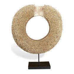 Kathy Kuo Home - Khalili Global Bazaar Metal Tribal Necklace - This intricate metal necklace is suitable for an island princess and now, your eclectic collection. Impressive and opulent, the stunning metal global bazaar masterpiece hangs on a simple black stand.