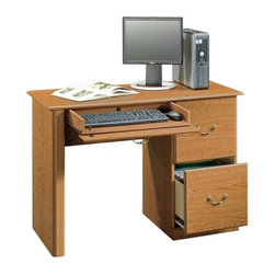 Sauder - Orchard Hills 2 Drawer Computer Desk in Carol - Large drawer and shelf with metal runners and safety stops. Features flip-down panel for keyboard and mouse. 2 Drawers with patented T-lock assembly system hold letter-size hanging files. Made of engineered wood. Assembly required. 43 in. W x 19 in. D x 30 in. H