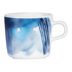 "Sääpäiväkirja Coffee Cup - Marimekko recently introduced its brand new ""Weather Diary"" tableware collection, which is inspired by the splendor of Finnish sunlight, snowfall and everything in between. The pattern on this mug combines watery inkblots with harder-edged etchings."