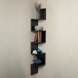 Danya B - Black Laminate Large Corner Wall Mount Shelf - Decorative zig-zag corner wall shelf with 5 shelves makes space utilization possible from any corner. Creative design and space saving solution for small areas. With its contemporary black finish,it is the ideal accent for any living space.