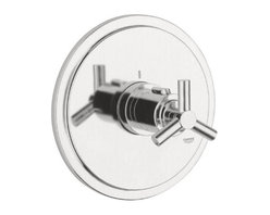 """Grohe - Grohe 19169EN0 Brushed Nickel Atrio Atrio Thermostatic Valve Trim - Product Features:Fully covered under Grohe s limited lifetime warrantyTrim constructed of brass - ensuring durability and providing aesthetic appealPremier finishing process - finishes will resist rusting and corrosion through every day useGrohe faucets are exclusively engineered in GermanyThe perfect synthesis of form and functionThermostatic valve cartridge with scald guardSecure mounting assemblyAll hardware required for installation is includedRough-in valve not included - when adding to cart valve options will be presentedProduct Technologies / Benefits:Starlight Finish: Continuously improving over the last 70 years GroheÂ's unique plating process has been refined to produce and immaculate shiny surface that is recognized as one of the best surface finishes the world over. Grohe plates sub layers of copper and/or nickel to ensure that a completely non-porous, immaculate surface awaits the chrome layer. This deep, even layered chrome surface creates a luminous and mirror like sheen.TurboStat: By increasing the sensitivity to the thermo element and restructuring the internal waterways, our thermostats react up to twice as fast to abrupt changes in water pressure, and are up to nine times more accurate than the leading competitors. The desired temperature is achieved in seconds and is maintained throughout the duration of your shower. The outstanding precision offered by the TurboStat technology also adds to your showers conservation of water.Valve Trim Specifications:Swinging temperature dial provides optimum controlPre-set safety stop with override capabilityEscutcheon (Trim Plate) Diameter: 7-3/8""""Rough-in valve sold separatelyDesigned for use with standard U.S. plumbing connections"""