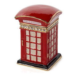 Red Phone Jewelry Box - This charming red phone booth (a replica of the iconic ones in London) is finished in glossy red and embellished with glistening crystals. It's such a sparkly way to keep jewelry and other keepsakes on your dresser or vanity area.
