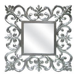 "Lamps Plus - Openwork Vienne 31 1/2"" Square Ornate Silver Wall Mirror - With a beautiful silver finish this ornate wall mirror has an updated look that will make a beautiful appearance in a wide range of home decor styles. From traditional to contemporary the openwork frame design will add visual interest and timeless appeal. It's crafted from wood with an ample square mirror in the center. Silver finish. Wood frame construction. Scrolling openwork frame design. Vertical or horizontal hang. Pre-attached D ring hangers. Overall measures 31 1/2"" square 1 1/4"" deep. Glass only measures 12"" square.  Silver finish.  Wood frame construction.  Scrolling openwork frame design.  Vertical or horizontal hang.  Pre-attached D ring hanger.  Overall measures 31 1/2"" square 1 1/4"" deep.  Glass only measures 12"" square."