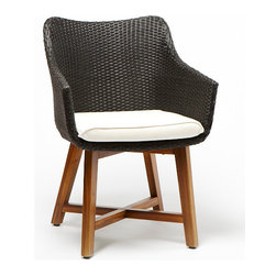 Mod resin-wicker outdoor dining chair with teak legs - $149.99 (compare at $280)
