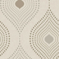 Walls Republic - Tia Geometric Design Wallpaper, Dove, Double Roll - Tia contains a decorative geometric pattern. Overlaying a charcoal background, pattern is accentuated with metallic embellishments.