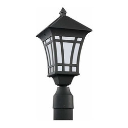 Sea Gull Lighting - 1-Light Post Lantern Black - 89231BL-12 Sea Gull Lighting Herrington 1-Light Outdoor Post Lantern with a Black Finish