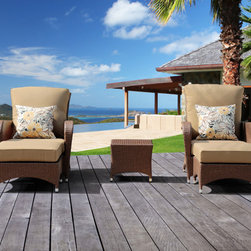 None - Miranda 5-piece Outdoor Furniture Set by Sirio - Clean sleek lines and quality handmade construction make the Miranda five piece set perfect for any outdoor living area. Whether you need the comfort of a cozy club chair,handy ottoman or a side table,it adapts easily to fulfill changing needs.