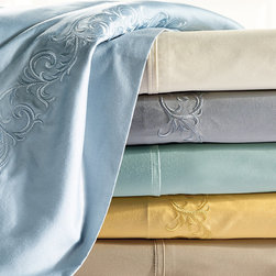 "Frontgate - Resort Sheet Set - MicroCotton is a patented finishing process for superfine long-staple cotton that results in an ultra-soft hand and drape. Sateen weave feels lightweight and luxurious on the skin. Retain their luster and softness wash after wash. Elegant tailored or embroidered hem options. Set includes a flat sheet, fitted sheet and two pillowcases. Beautiful, breathable and amazingly soft, our exclusive Resort Sheets are inspired by linens on the finest hotel beds. Breathable long-staple cotton fibers are finished using the proprietary MicroCotton process and sateen woven to an elegant 600 thread count. The result is a smooth feel, glossy sheen and excellent drape. The only thing missing is the turndown service.. . . . . The fitted sheet has a 16"" deep pocket to fit luxury mattresses. Optional 2"" monogram available. Machine wash."