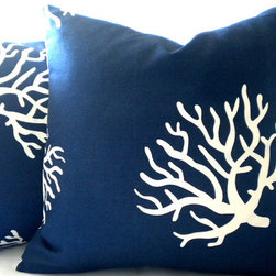 Navy white coral pillow cover-beach house decor - Happy corals come to life with this versatile Navy and white coral print pillow cover. It's fully finished and comfortable enough for indoors.
