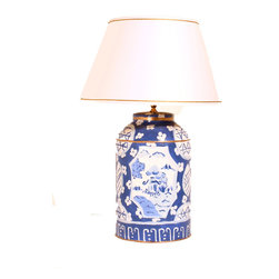 Blue Canton Tea Caddy Lamp - This hand-painted tea caddy lamp has a slightly more modern shape and beautiful gold detailing. It will definitely stand out in any home.