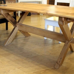 X Cross Trestle Base Table - Made by http://www.ecustomfinishes.com