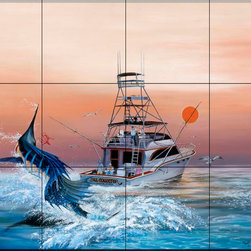"""The Tile Mural Store (USA) - Tile Mural - Bill Collector - Kitchen Backsplash Ideas - This beautiful artwork by Dann """"Spider"""" Warren has been digitally reproduced for tiles and depicts a fishing boat hooking a sailfish (marlin).  This tile mural featuring fish and sea life would be perfect as a part of your kitchen backsplash tile project or your tub and shower surround bathroom tile project. Images of tropical fish on tile make a fantastic kitchen backsplash idea and are great to use in the bathroom too for your shower tile project. Consider a tile mural of sealife and fish for any room in your home where you want to add wall tile with interest."""