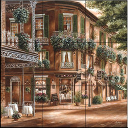 The Tile Mural Store (USA) - Tile Mural - Live Jazz  - Kitchen Backsplash Ideas - This beautiful artwork by Betsy Brown has been digitally reproduced for tiles and depicts a beautiful street scene with lush foliage.    This street scene tile mural would be perfect as part of your kitchen backsplash tile project or your tub and shower surround bathroom tile project. Street scenes images on tiles add a unique element to your tiling project and are a great kitchen backsplash idea. Use a street scene tile mural, perhaps a Tuscan theme tile mural, for a wall tile project in any room in your home where you want to add interesting wall tile.