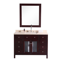 """Design Elements - Design Elements DEC302C Vanity in Cherry Finish - The Venetian 48"""" vanity set combines a classic feel with modern simplicity through its warm color palette, round handles, and crisp lines. The cabinet features solid hardwood construction for both the frame and the panels. Seated at the base of the ceramic sink is a chrome pop-up drain, designed for easy one-touch draining. Practicality was not compromised, as this vanity includes eight functional drawers and one soft-closing double-door cabinet, all accented with satin nickel hardware."""