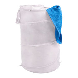 Trademark Global - White Pop-Up Laundry Hamper - Both breathable and portable, this collapsible mesh hamper is a great choice for dorm rooms or other small spaces. It features a zippered top and a carrying strap to make transporting laundry simple.   18'' diameter x 27.5'' H Nylon Imported