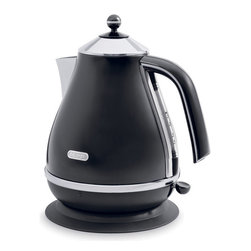 DeLonghi - Icona Kettle - The DeLonghi KBO1401BK Icona Electric Kettle, in black, has a unique High-Gloss finish with chrome detailing. The kettle easily detaches from the 360-degree swivel base for convenient, cord-free pouring. It has a removable lid for quick and easy filling and a conveniently located water-level indicator for easy viewing. It even has a removable, washable anti-scale filter. Plus, the 3-level safety protection includes auto shutoff when the water boils, thermal cutoff, and auto shutoff when the kettle is removed from base.57.5-Ounce capacity electric kettle.