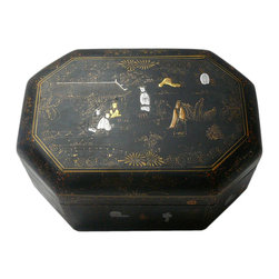 Golden Lotus - Chinese Octagon Scenery Decorative Lacquer Box - This decorative wooden box is painted with black lacquer on the surface and oriental scenery is precisely drawn on the body.