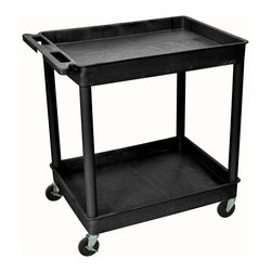 Luxor Furniture - Tub Cart w 2 Shelves in Black - Includes four heavy duty 4 in. casters. Two casters with brake. Molded plastic shelves. Retaining lip around the back and sides of flat shelves. Push handle molded into the top shelf. Reinforced shelves with two aluminum bars. 2.75 in. deep shelves. 10.75 in. clearance between shelves. Made from high density polyethylene structural foam molded plastic. Made in USA. 32 in. L x 24 in. W x 37.25 in. H. Warranty. Part List