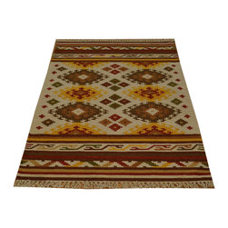 Anatolian Kilim Flat Weave 3'x5' 100% Wool Hand Woven Reversible Rug SH15831 - Soumaks & Kilims are prominent Flat Woven Rugs.  Flat Woven Rugs are made by weaving wool onto a foundation of cotton warps on the loom.  The unique trait about these thin rugs is that they're reversible.  Pillows and Blankets can be made from Soumas & Kilims.