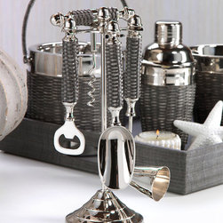 Woven Cane Bartool Set - With a stunning grey woven sugarcane detailing the outer portion of the handles along with their shining nickel composition, the Woven Cane Bar Tool Set and corresponding collection epitomizes casual elegance. Utilize the matching Ice Bucket, Wine Cooler and Cocktail Shaker in your pool house or pub room and you have a beautiful collection for your bar that is sure to delight.