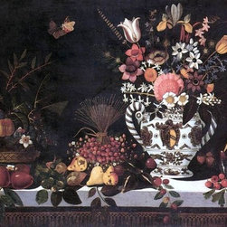 """Master of Hartford Still-life Fruit Still-Life with a Vase of Flowers Print - 16"""" x 24"""" Master of Hartford Still-life Fruit Still-Life with a Vase of Flowers premium archival print reproduced to meet museum quality standards. Our museum quality archival prints are produced using high-precision print technology for a more accurate reproduction printed on high quality, heavyweight matte presentation paper with fade-resistant, archival inks. Our progressive business model allows us to offer works of art to you at the best wholesale pricing, significantly less than art gallery prices, affordable to all. This line of artwork is produced with extra white border space (if you choose to have it framed, for your framer to work with to frame properly or utilize a larger mat and/or frame).  We present a comprehensive collection of exceptional art reproductions byMaster of Hartford Still-life."""