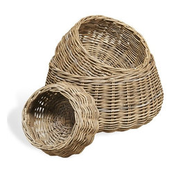 Interlude - Antibes Round Baskets - The epitome of versatility, in a neutral, chic gray wash finish no room should be without the Antibes Round Baskets.