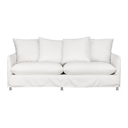"Catalina Apartment Sofa with Legs - This sleek white slipcovered sofa looks like it could be right at home in a modern urban loft. But don't bother to come insideour eco-friendly Catalina collection is designed to live carefree outdoors under blue skies. Under that UV-, fade- and moisture-resistant Sunbrella® sailcloth slipcover (yes, it's even machine-washable), you'll find a thoughtfully crafted sofa made in the USA at the same furniture workshop as many of our living room upholstered collections. A 15-ply outdoor-grade sustainable birch plywood frame subtly slopes the seat deck front to back to drain water properly from an open bottom slot. Plush cushions are a reticulated open-cell foam that allows water to drain. Comfortable back cushions and pillows are protected by waterproof ticking. Upholstered in Sunbrella base cloth sand, an open-weave fabric that accelerates drainage and allows cushions and pillows to breathe, with a bottom zipper to drain water and release moisture.After you place your order, we will send a fabric swatch via next day air for your final approval. We will contact you to verify both your receipt and approval of the fabric swatch before finalizing your order.Eco-friendly constructionOutdoor-grade sustainable birch plywood frameSeat cushions are mildew-resistant, reticulated open-cell foamBack cushions and pillows are filled with outdoor recycled fiber in a waterproof tickingSlipcovered in 100% Sunbrella solution-dyed acrylicMachine wash the removable slipcovers; line dryIncludes four 23"" throw pillowsRustproof brushed aluminum legsSee additional frame options belowMade in USA"