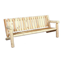 Rustic Natural Cedar - Rustic Natural Cedar 100007 Outdoor Wooden Settee 6' - Our classic 6 settee comfortably seats three to four and adds a touch of elegance to any outdoor space. The generous scale and smooth-sanded finish ensure maximum comfort while the cedar construction provides beauty and years of carefree use. Cedar is naturally resistant to decay, insect, and weather damage and, when left untreated, the creamy natural color weathers gracefully to a silvery grey.