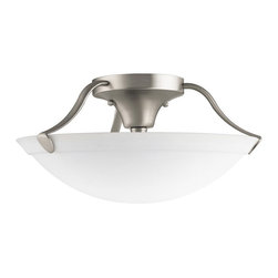 KICHLER - KICHLER Transitional Semi Flush Mount Ceiling Light X-IN7263 - This Kichler Lighting semi flush mount ceiling light features a Brushed Nickel finish over a clean curves that perfectly compliment the clean look of the contemporary styled white etched glass shade.