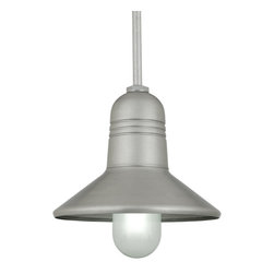 "THE SKYLINE STEM MOUNT CEILING LIGHT - 15"" Skyline shown in 101-Brushed Aluminum Finish with FR Globe & BLO-1/2"" ST Mounting"